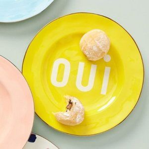 "New! Anthropologie Maisonette ""OUI"" Dessert Plate"